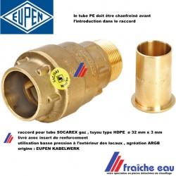 raccord type push diamètre 32 mm avec insert renforcement  connexion tube SOCAREX PEHD gaz basse pression, utilisation extérieur