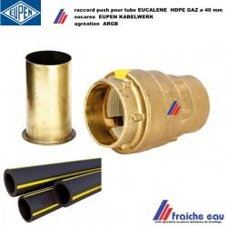 raccord push pour tube socarex gaz 40 mm, connexion  tube HDPE avec ligne jaune, agréation ARGB  gaz naturel, butane, et propane