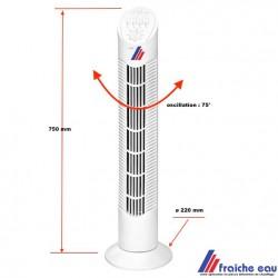 ventilateur colonne 3 vitesse 55 watts , ventilation verticale oscillant avec timer