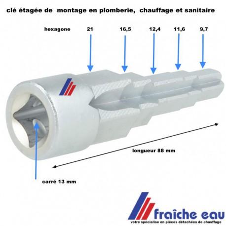 clé de montage à étages hexagones pour chauffage et sanitaire ,accessoires en plomberie et raccordement de vanne de radiateur