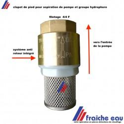 clapet anti retour YORK  avec tamis filtrant  raccordement 4/4 F  pour aspiration de pompe