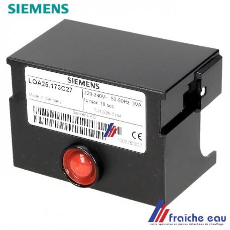 relais de brûleur fioul SIEMENS LOA 25-173-C 27 , manager de combustion à une ou 2 allures associé a la cellule type QRB