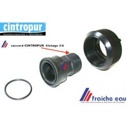 écrou avec raccord fileté 3/4 pour filtre,  le produit CINTROPUR est fabriqué en Belgique dans la région de Eupen