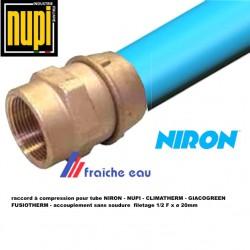 raccord mécanique  à compression pour tube diamètre 20 mm x 1/2 F