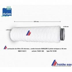 filtre 73051 BX avec corde tressée finesse 25 microns FA 10 BX pour filtration DURLEM raccordement avec 2 joints toriques