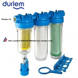 filtre DURLEM TRIPLEX raccordement 3/4  avec filtre primaire rétro lavable, filtre fin et charbon actif