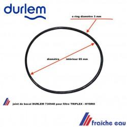 joint de globe de fitre DURLEM TRIPLEX , O ring pour bocal de filtration  ATLAS FILTRI