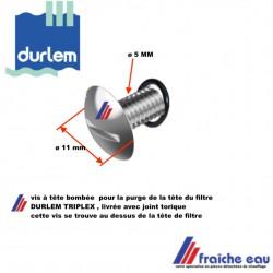 vis à tête fendue  pour la purge de la tête de filtre DURLEM TRIPLEX , livrée avec o ring, pièce pour filtre ATLAS FILTRI HYDRA