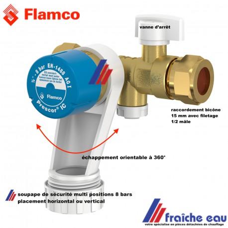 soupape de sécurité FLAMCO PRESCOR avec sortie orientable , bicônes 15 mm avec filetage 1/2 , groupe de sécurité 8 bars