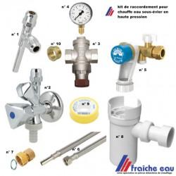 kit de raccordement sous évier avec réducteur et manomètre  pour chauffe eau haute pression , lave vaisselle, mitigeur 2 tubes,
