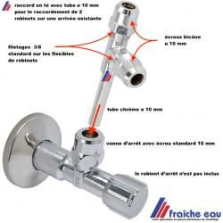 raccord en té avec tube de prolongation 10 mm type SCHELL  pour la jonction de 2 mitigeurs sur une arrivée d'eau existante