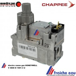 bloc gaz non modulant  HONEYWELL pour BROTJE CHAPEE electro vanne gaz type V 4600 D 1001 U filetage 1/2, bobine 220 v