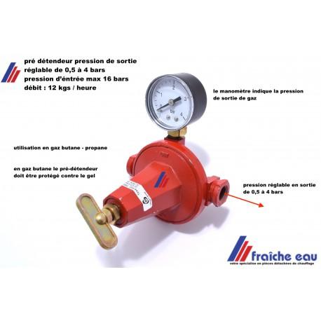 pré-détendeur réglable de 0,5 à 4 bars  gaz butane et propane , livré avec manomètre , regelbare fles voorontspanners met mano