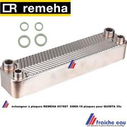 échangeur à plaques art: S 57887 REMEHA E8 NX-18 pour QUINTA 35C, Tapwaterplatenwisselaar E8NX-18 Quinta 35c