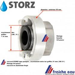 branchement type incendie STORZ accouplement rapide connexion symétrique en aluminium forgé distance entre griffes 31 mm
