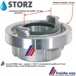 connexion  symétrique STORZ  distance entre griffes 52mm (DG 52 ) accouplement réversible type pompier en aluminium forge