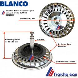 bouchon de soupape automatique BLANCO en inox 00125555 diamètre 82 mm avec 24 fentes