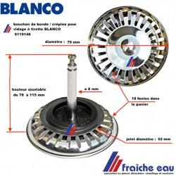 bouchon de crépine ,tamis à joint , clapet de bonde , fermeture d'évier BLANCO INOX 00119146 diamètre 79 mm avec 18 fentes