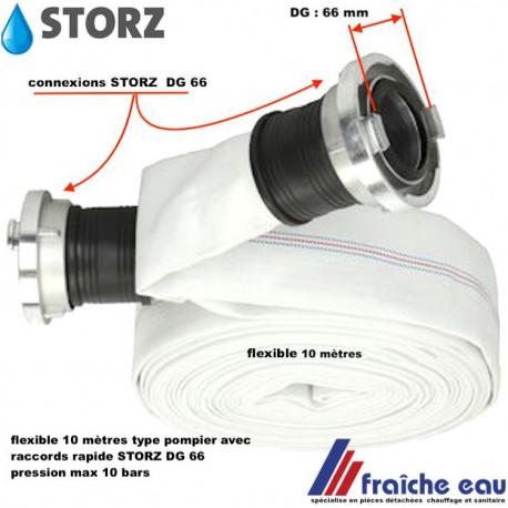 flexible de pompe haute pression ,diamètre 50 mm longueur 10 mètres  avec raccords type pompier STORZ DG 66