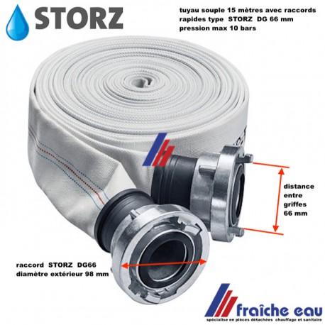 tuyau souple 15 mètres pour le refoulement de pompe ou arrosage avec raccords type pompier STORZ DG 66 pression max 10 bars