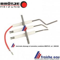 électrode combinée, unité allumage et ionisation BROTJE-REMEHA-DE DIETRICH  986328 , SET ONTSTEKING-IONISATIE VOOR LUNA WGB