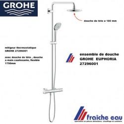 colonne de douche GROHE 27296001 avec mitigeur thermostatique GROHTHERM 1000 , inverseur pour douche à main et douche de tête