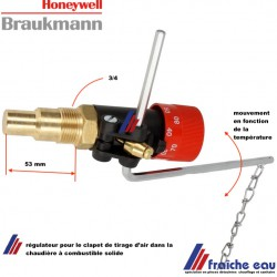 régulateur de tirage  HONEYWELL-BRAUKMANN 3/4 pour chaudière à combustible solide, automatisation du clapet d'air