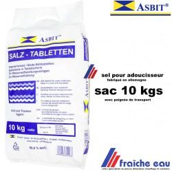 sel en pastilles sac de 10kgs  pour la régénération de l'adoucisseur de toutes marques et traitement de l'eau potable