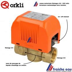 vanne de zone 2 voies  motorisée ORKLI filetages 4/4 FF moteur 220 volts fonctionne en tout ou rien pour chauffage et solaire