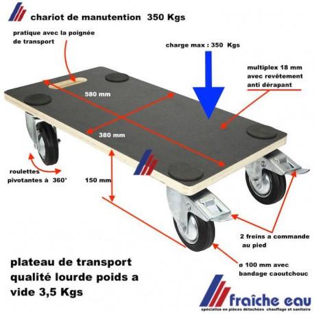 plateau de manutention 380 x 580 mm, chariot de transport 4 roulettes, plateau multiplex 18 mm avec revêtement anti dérapant