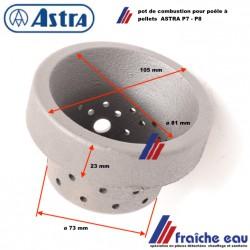 pot de combustion, brasier en fonte, foyer de poêle à pellets ASTRA  creuset pour poêle à granulés type P7 - P8