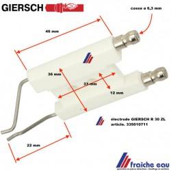electrode GIERSCH pour R30-ZL, double bougie d'allumage haute tension pour brûleur fioul GIERSCH  R 30