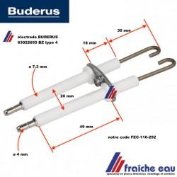 bougie BUDERUS  électrode d'allumage BZ type 4  art : 63022655 pour brûleur à flamme bleue