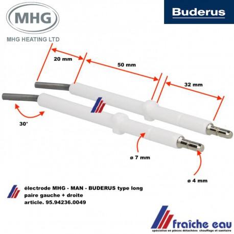 paire d'électrode haute tension type longue pour brûleur à flamme bleue MAN - BUDERUS - MHG type 95.24236.0049