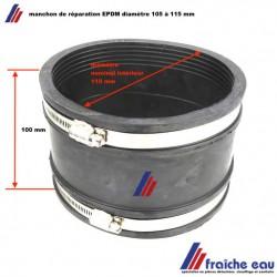 manchon EPDM imputrescible, accouplement  pour tube en fonte, acier, Fibrociment, eternit, pvc diamètre de 105 à 115 mm