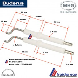 électrode d'allumage haute tension type courte pour brûleur fioul BUDERUS - MAN -MHG  type RE1.0 article 95.24236.0015
