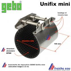 collier à bride pour réparation d'urgence sur une canalisation de 55 à 58 mm, GEBO UNIFIX , colmater une fuite rapidement