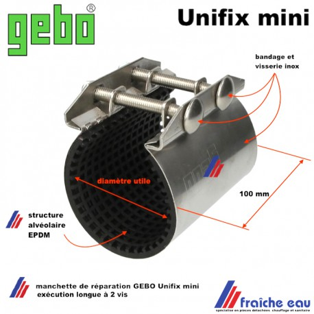 manchon de réparation rapide GEBO UNIFIX pour une canalisation lisse de 69 à 73 mm, colmater une fuite en urgence