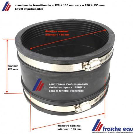 manchon EPDM pour tube lisse diamètre 120 à 135 mm des 2 côtés