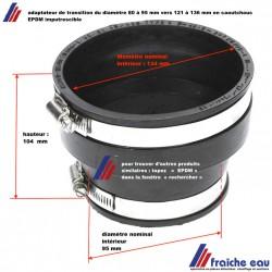 adaptateur en EPDM pour l'accouplement d'un tube de 121 à 136 mm vers un diamètre de 80 à 95 mm