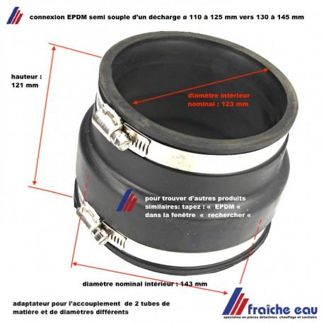 adaptateur en EPDM semi souple pour l'accouplement d'un tube de décharge 110 à 125 mm vers 130 à 145 mm à écoulement libre