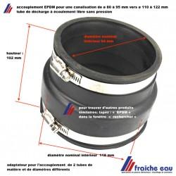 accouplement en EPDM semi souple, raccordement deux tubes de décharge de diamètres différents de 80 à 95 mm vers 110 à 122 mm