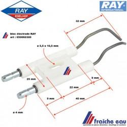 pièce de remplacement pour chaudière, électrode d'allumage haute tension de brûleur RAY type 2000 , art: 650060300
