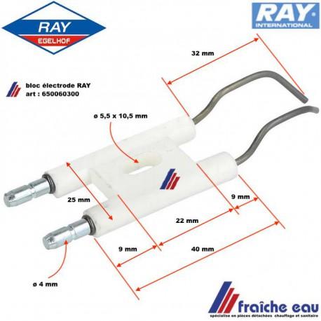 électrode d'allumage haute tension de brûleur RAY type 2000 , art: 650060300