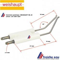 électrode haute tension  symétrique pour brûleur WEISHAUPT WL 20 article 241 2001 267