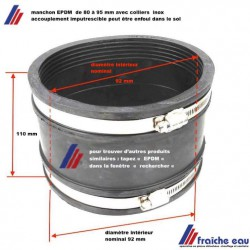 manchon semi souple EPDM diamètre de 80 à 95 mm permets l'accouplement de 2 tubes légèrement différents