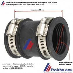 manchon EPDM accouplement pour tube ø 45 à 50 mm, permets la connexion de tube de décharge de diamètre différent