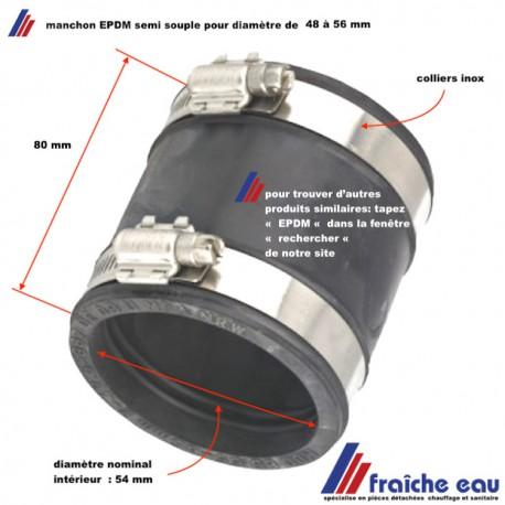 manchon, accouplement EPDM pour raccorder 2 tubes diamètre 48 à 56 mm