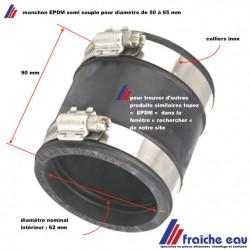 manchon EPDM pour la jonction de 2 tubes diamètre de 50 à 65 mm, livraison Belgique, France , Luxembourg
