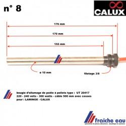 """bougie, résistance  chauffante + ecrou pour poêle à pellets CALUX et LAMINOX 3/8"""" ø9,5 x 170 mm 300 w"""